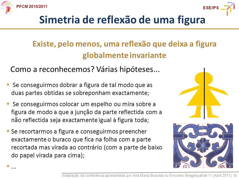 Adaptação da conferência apresentada por Ana Maria Boavida no Encontro BragançaMat 11 (Abril 2011) 18 PFCM 2010/2011 ESE/IPS Simetria de reflexão de u