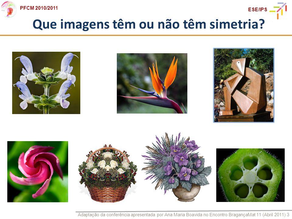 Adaptação da conferência apresentada por Ana Maria Boavida no Encontro BragançaMat 11 (Abril 2011) 3 PFCM 2010/2011 ESE/IPS Que imagens têm ou não têm