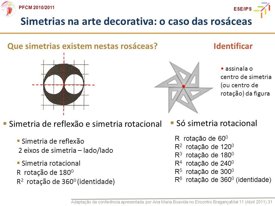 Adaptação da conferência apresentada por Ana Maria Boavida no Encontro BragançaMat 11 (Abril 2011) 31 PFCM 2010/2011 ESE/IPS Que simetrias existem nes