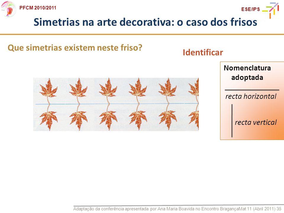 Adaptação da conferência apresentada por Ana Maria Boavida no Encontro BragançaMat 11 (Abril 2011) 35 PFCM 2010/2011 ESE/IPS Que simetrias existem nes