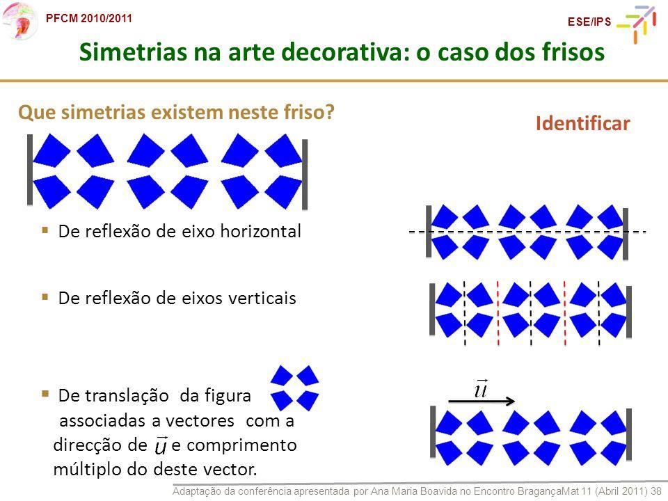 Adaptação da conferência apresentada por Ana Maria Boavida no Encontro BragançaMat 11 (Abril 2011) 38 PFCM 2010/2011 ESE/IPS Que simetrias existem nes