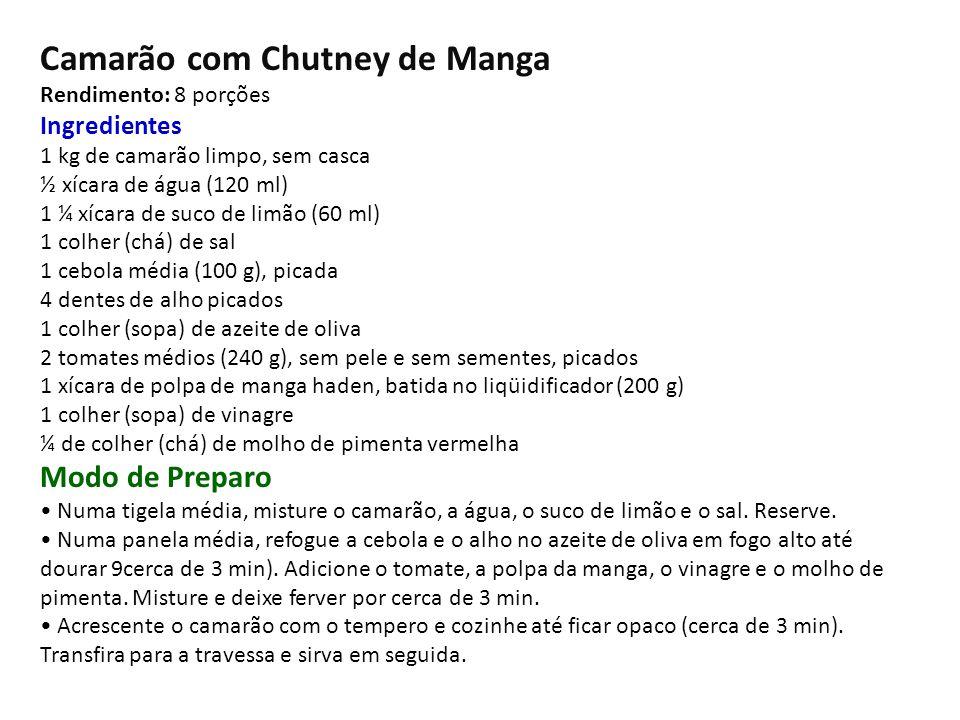 Camarão com Chutney de Manga Rendimento: 8 porções Ingredientes 1 kg de camarão limpo, sem casca ½ xícara de água (120 ml) 1 ¼ xícara de suco de limão