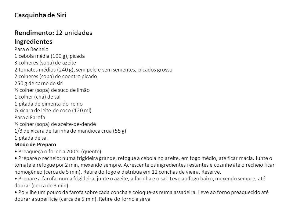 Casquinha de Siri Rendimento: 12 unidades Ingredientes Para o Recheio 1 cebola média (100 g), picada 3 colheres (sopa) de azeite 2 tomates médios (240