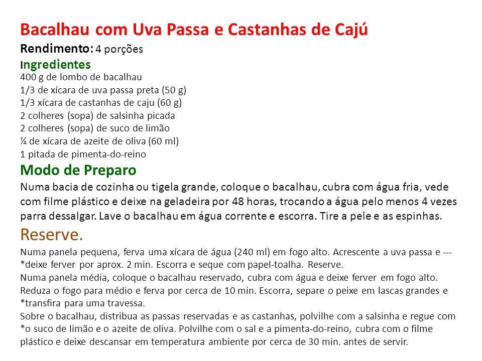 400 g de lombo de bacalhau 1/3 de xícara de uva passa preta (50 g) 1/3 xícara de castanhas de caju (60 g) 2 colheres (sopa) de salsinha picada 2 colhe