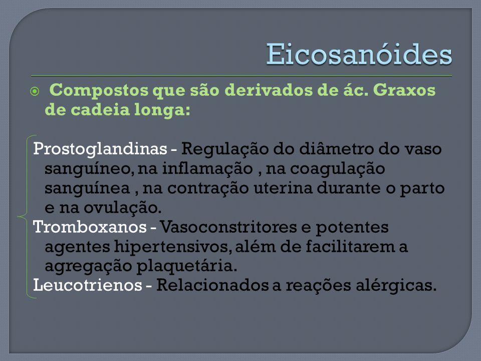 Compostos que são derivados de ác. Graxos de cadeia longa: Prostoglandinas - Regulação do diâmetro do vaso sanguíneo, na inflamação, na coagulação san