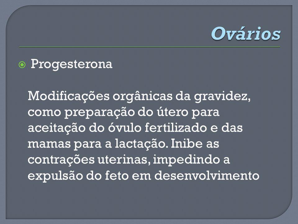 Progesterona Modificações orgânicas da gravidez, como preparação do útero para aceitação do óvulo fertilizado e das mamas para a lactação. Inibe as co