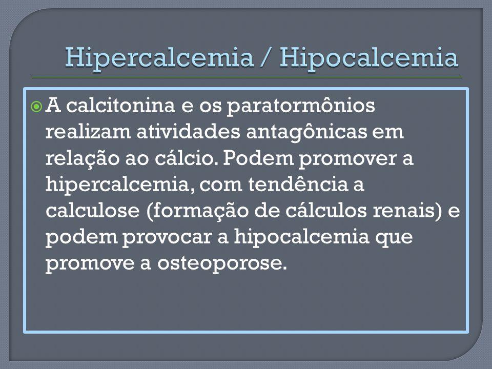 A calcitonina e os paratormônios realizam atividades antagônicas em relação ao cálcio. Podem promover a hipercalcemia, com tendência a calculose (form
