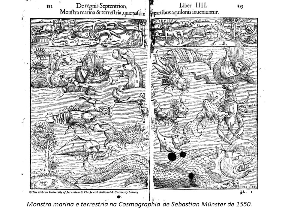 Monstra marina e terrestria na Cosmographia de Sebastian Münster de 1550.