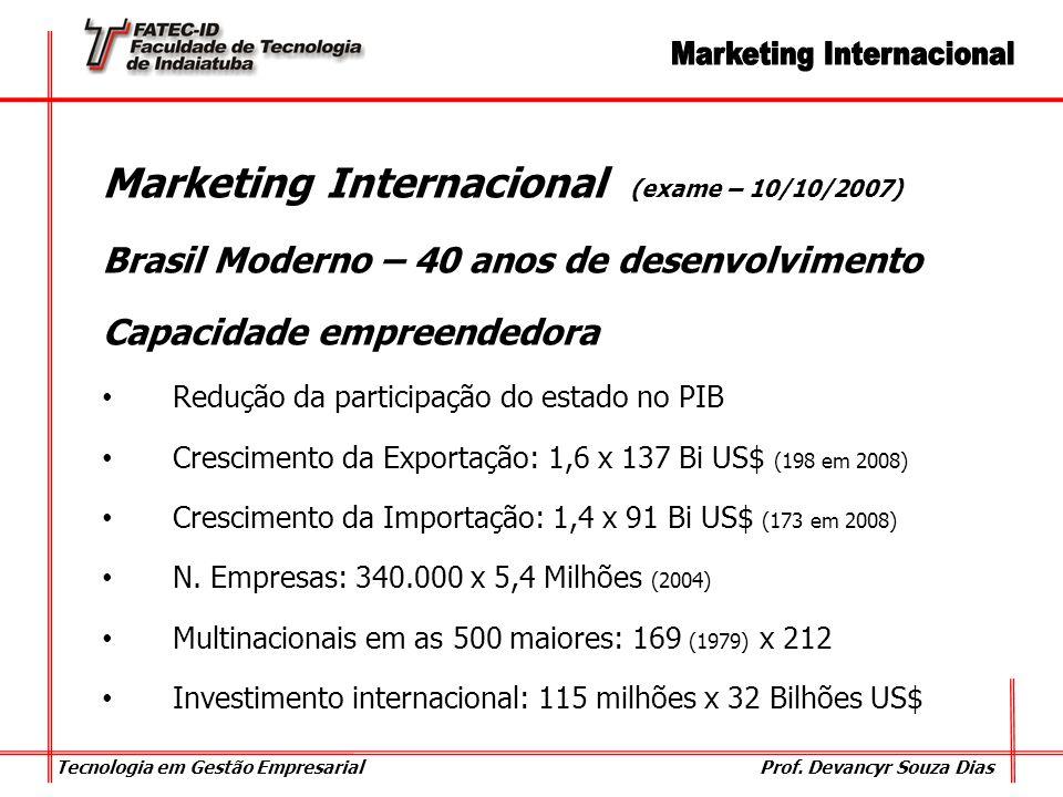 Tecnologia em Gestão Empresarial Prof. Devancyr Souza Dias Marketing Internacional (exame – 10/10/2007) Brasil Moderno – 40 anos de desenvolvimento Ca