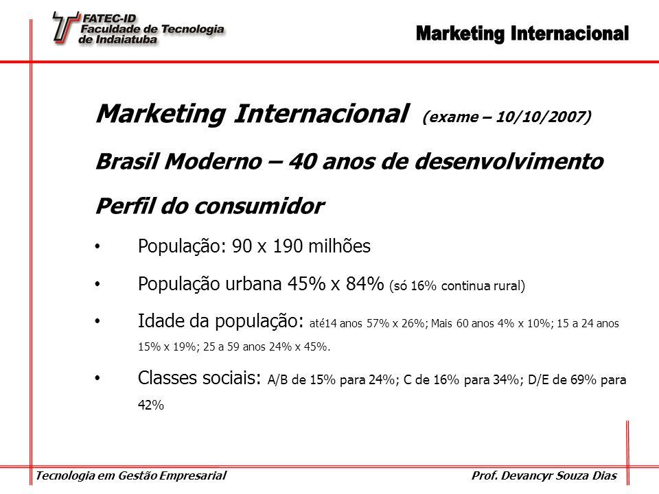 Tecnologia em Gestão Empresarial Prof. Devancyr Souza Dias Marketing Internacional (exame – 10/10/2007) Brasil Moderno – 40 anos de desenvolvimento Pe