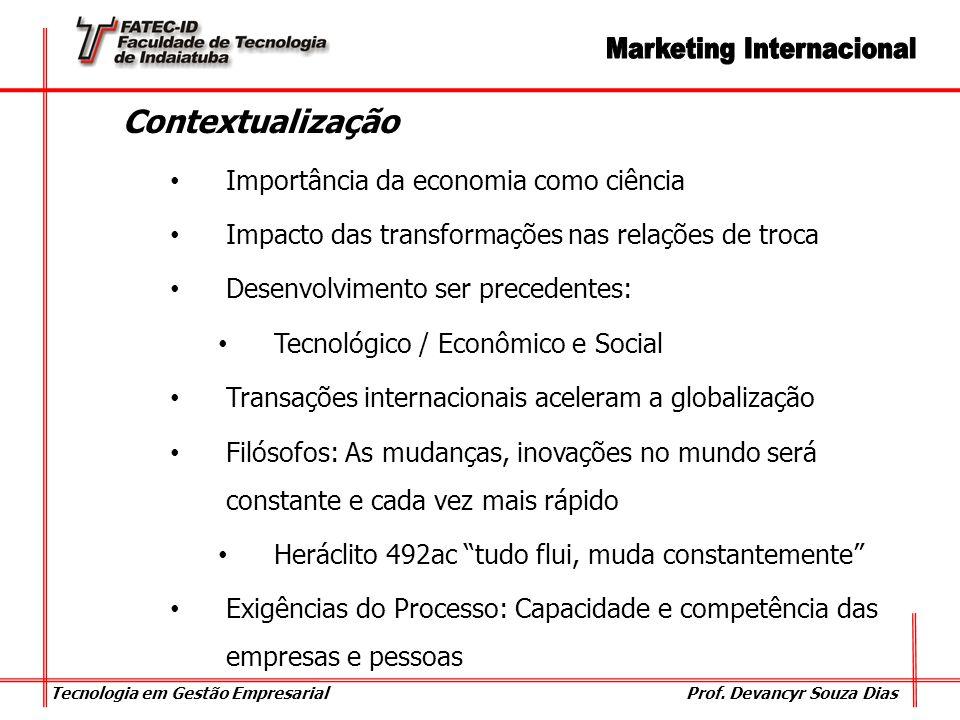 Tecnologia em Gestão Empresarial Prof. Devancyr Souza Dias Contextualização Importância da economia como ciência Impacto das transformações nas relaçõ