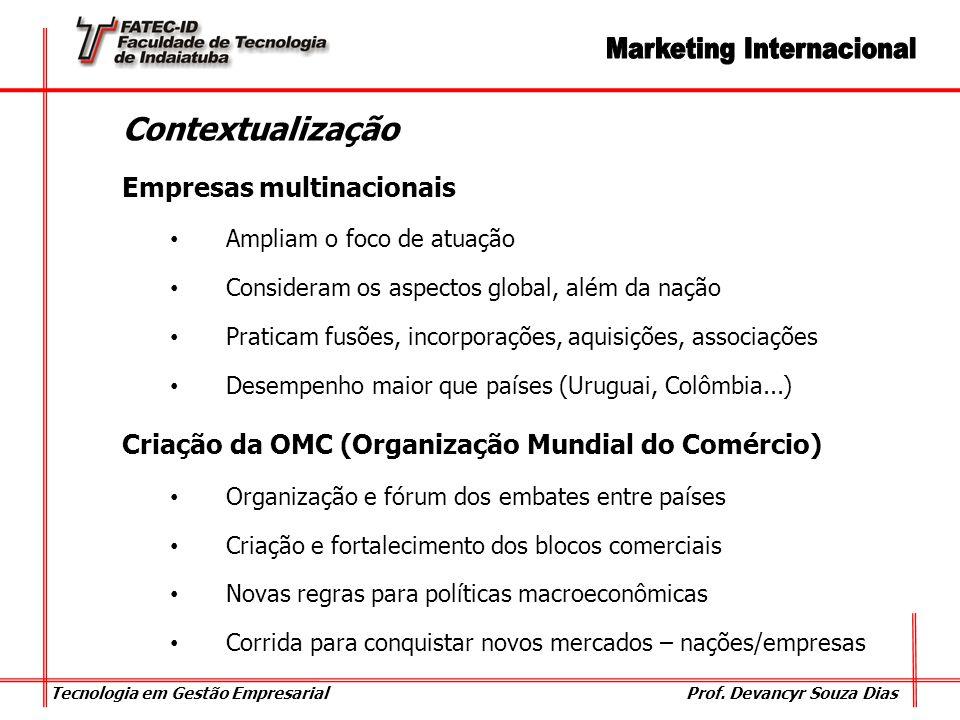 Tecnologia em Gestão Empresarial Prof. Devancyr Souza Dias Contextualização Empresas multinacionais Ampliam o foco de atuação Consideram os aspectos g