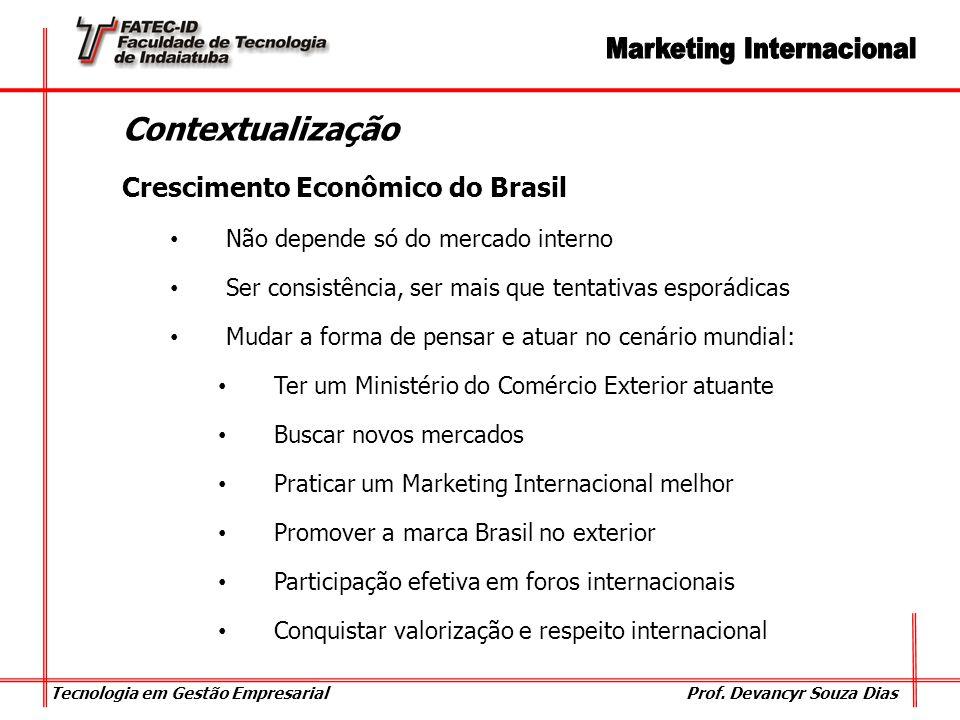 Tecnologia em Gestão Empresarial Prof. Devancyr Souza Dias Contextualização Crescimento Econômico do Brasil Não depende só do mercado interno Ser cons