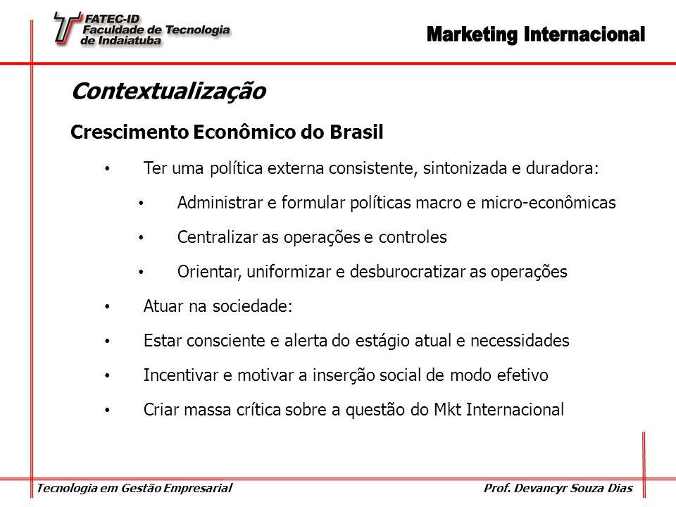 Tecnologia em Gestão Empresarial Prof. Devancyr Souza Dias Contextualização Crescimento Econômico do Brasil Ter uma política externa consistente, sint