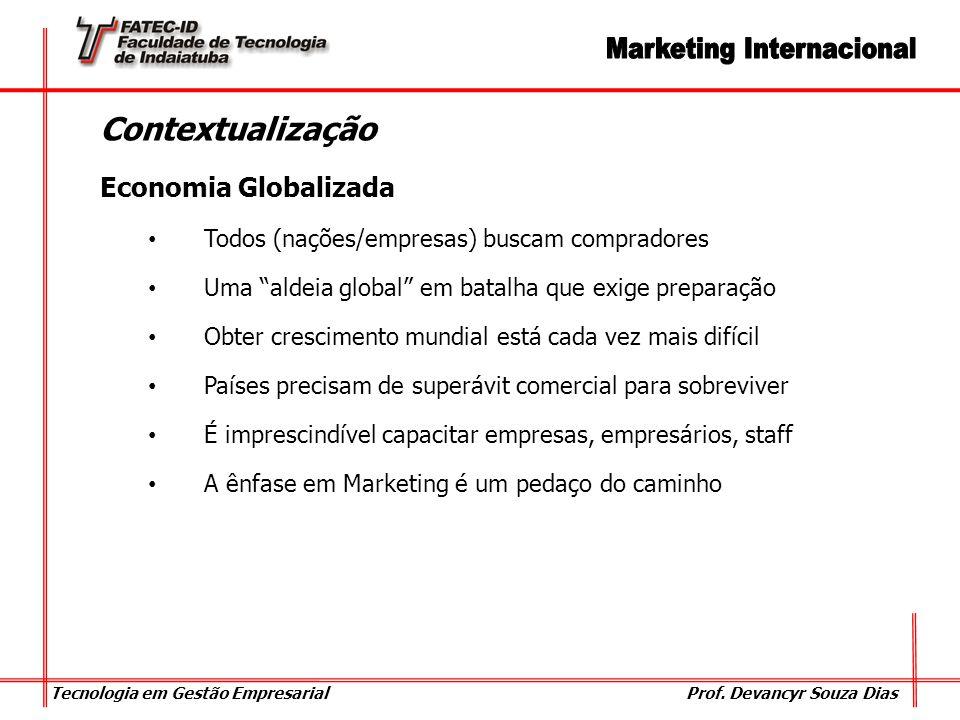 Tecnologia em Gestão Empresarial Prof. Devancyr Souza Dias Contextualização Economia Globalizada Todos (nações/empresas) buscam compradores Uma aldeia