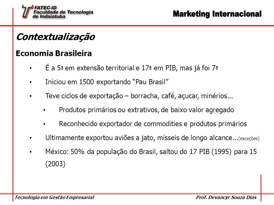 Tecnologia em Gestão Empresarial Prof. Devancyr Souza Dias Contextualização Economia Brasileira É a 5 ª em extensão territorial e 17 ª em PIB, mas já