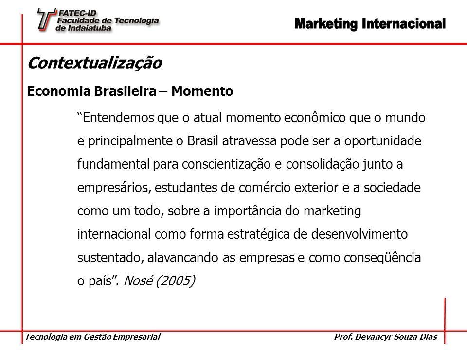 Tecnologia em Gestão Empresarial Prof. Devancyr Souza Dias Contextualização Economia Brasileira – Momento Entendemos que o atual momento econômico que
