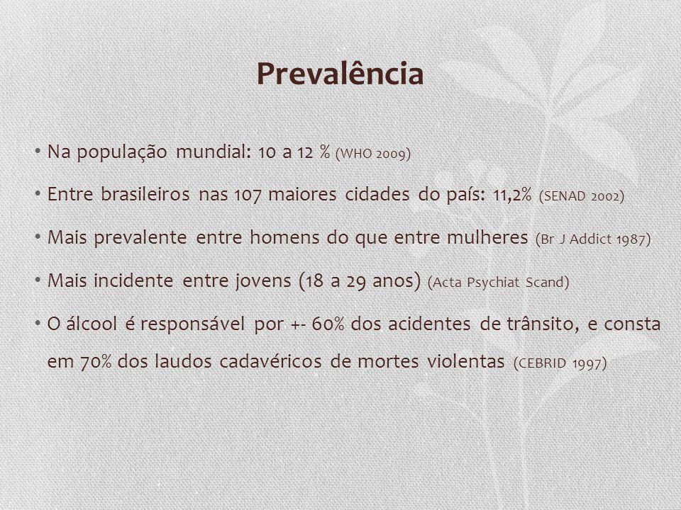 Prevalência Na população mundial: 10 a 12 % (WHO 2009) Entre brasileiros nas 107 maiores cidades do país: 11,2% (SENAD 2002) Mais prevalente entre hom
