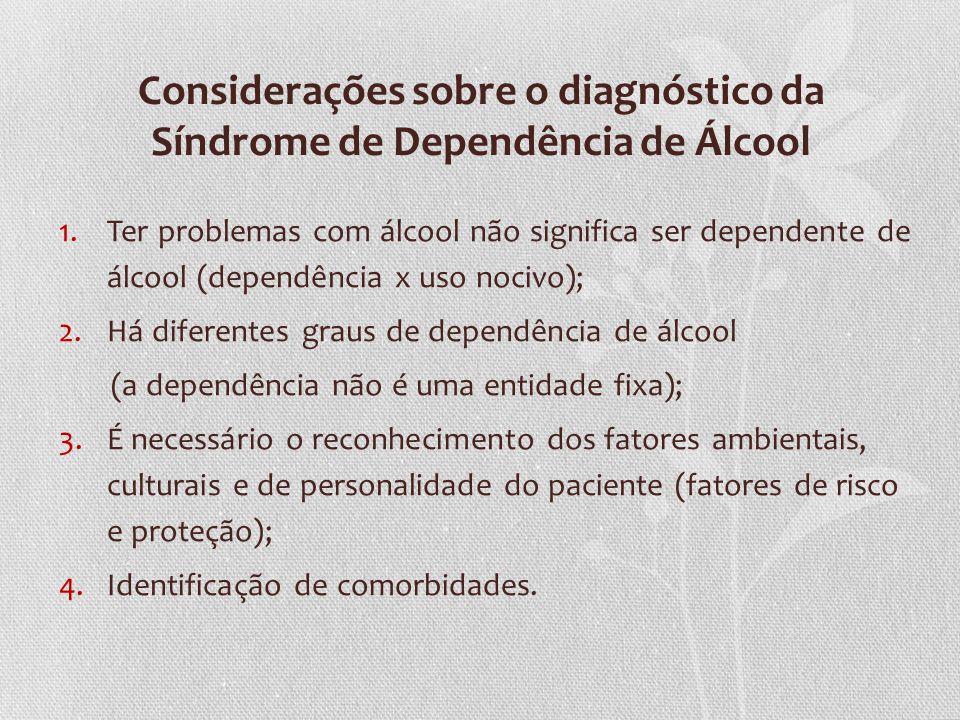 Considerações sobre o diagnóstico da Síndrome de Dependência de Álcool 1.Ter problemas com álcool não significa ser dependente de álcool (dependência