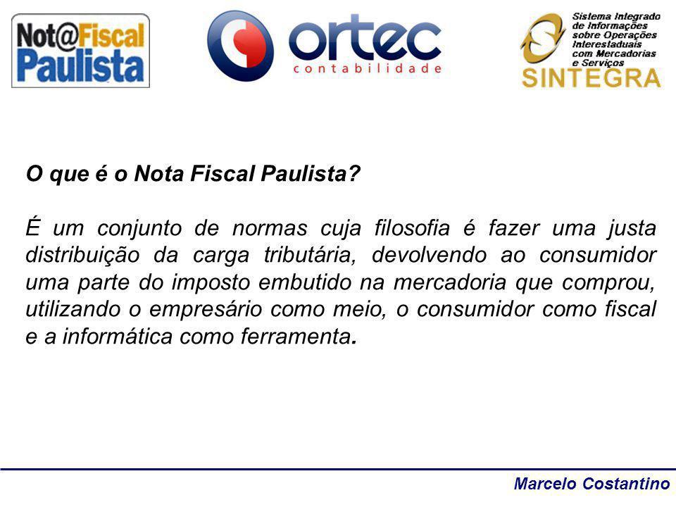 Marcelo Costantino O que é o Nota Fiscal Paulista? É um conjunto de normas cuja filosofia é fazer uma justa distribuição da carga tributária, devolven
