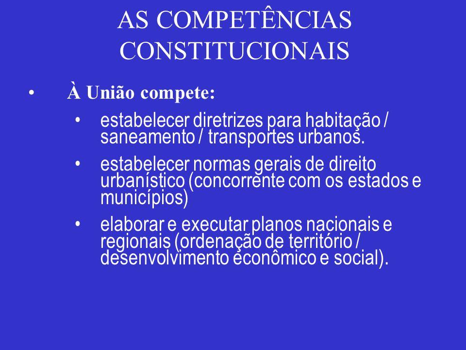AS COMPETÊNCIAS CONSTITUCIONAIS À União compete: estabelecer diretrizes para habitação / saneamento / transportes urbanos. estabelecer normas gerais d
