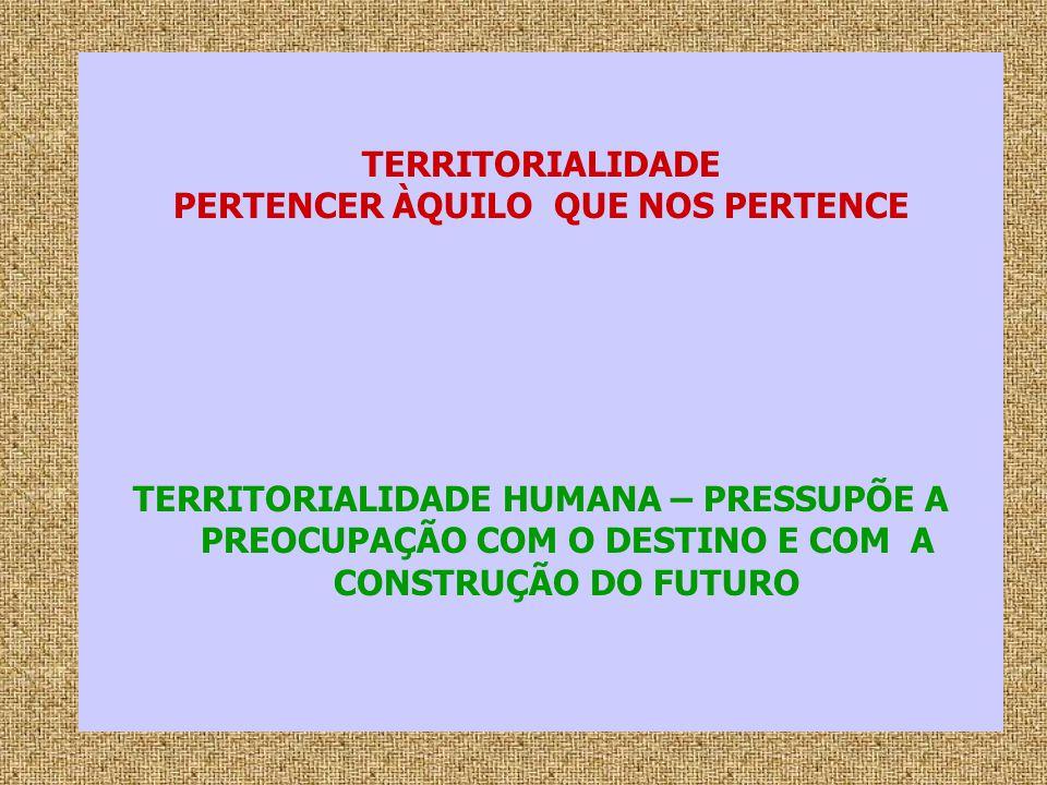 TERRITORIALIDADE PERTENCER ÀQUILO QUE NOS PERTENCE TERRITORIALIDADE HUMANA – PRESSUPÕE A PREOCUPAÇÃO COM O DESTINO E COM A CONSTRUÇÃO DO FUTURO