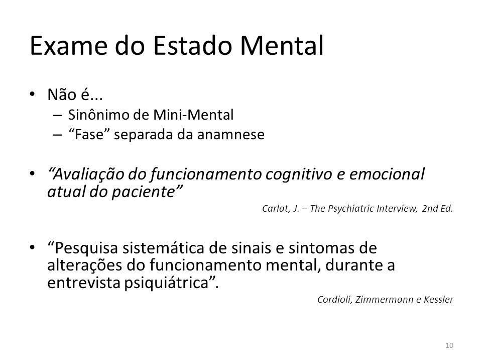 Exame do Estado Mental Não é... – Sinônimo de Mini-Mental – Fase separada da anamnese Avaliação do funcionamento cognitivo e emocional atual do pacien