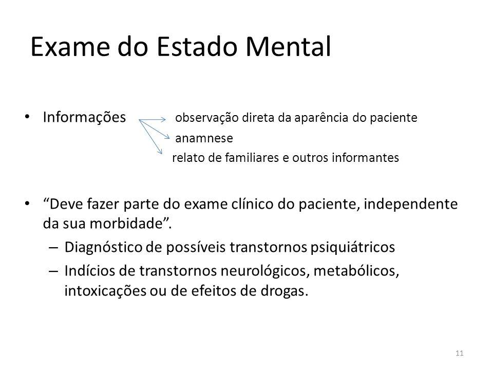 Exame do Estado Mental Informações observação direta da aparência do paciente anamnese relato de familiares e outros informantes Deve fazer parte do e