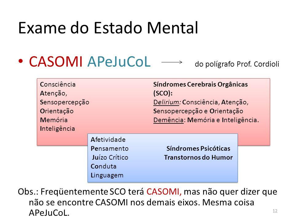 Exame do Estado Mental CASOMI APeJuCoL do polígrafo Prof. Cordioli Obs.: Freqüentemente SCO terá CASOMI, mas não quer dizer que não se encontre CASOMI