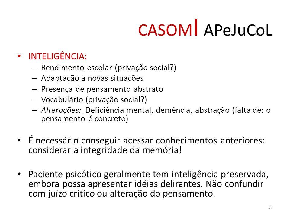 CASOM I APeJuCoL INTELIGÊNCIA: – Rendimento escolar (privação social?) – Adaptação a novas situações – Presença de pensamento abstrato – Vocabulário (