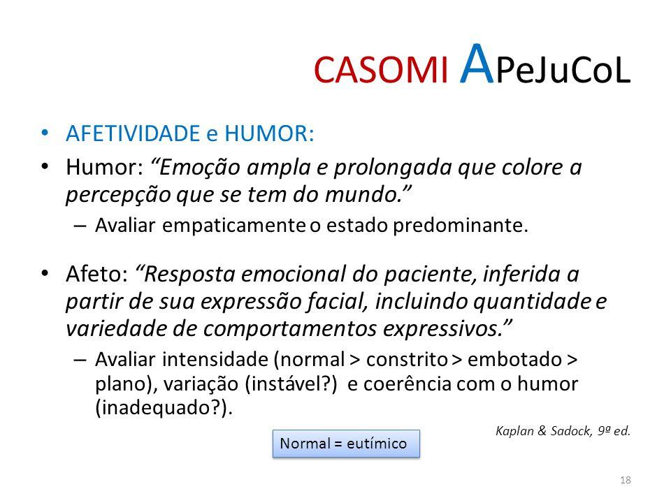 CASOMI A PeJuCoL AFETIVIDADE e HUMOR: Humor: Emoção ampla e prolongada que colore a percepção que se tem do mundo. – Avaliar empaticamente o estado pr