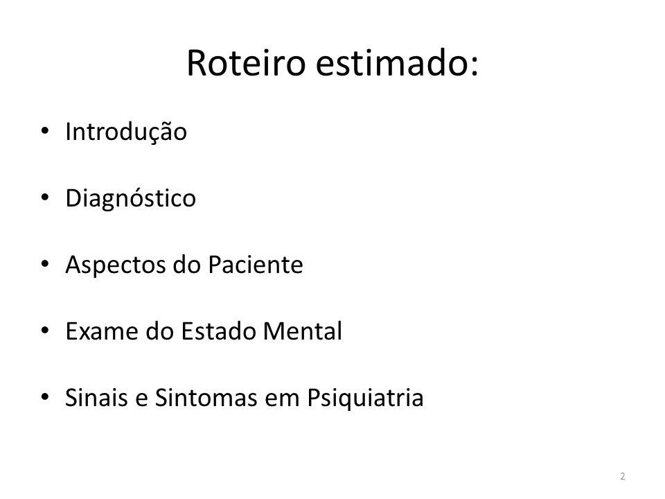 Roteiro estimado: Introdução Diagnóstico Aspectos do Paciente Exame do Estado Mental Sinais e Sintomas em Psiquiatria 2