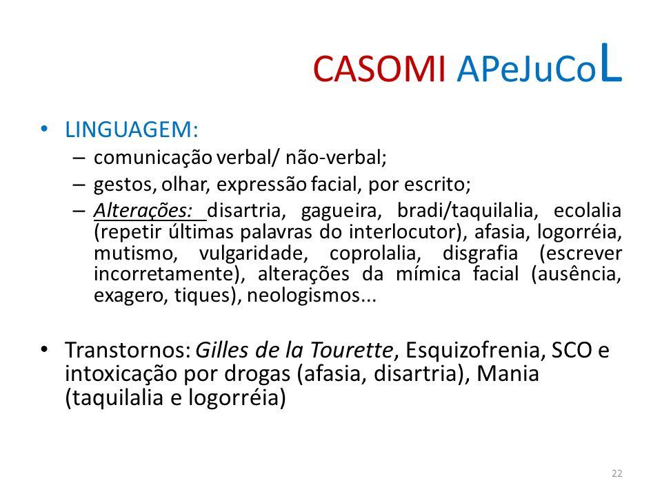 CASOMI APeJuCo L LINGUAGEM: – comunicação verbal/ não-verbal; – gestos, olhar, expressão facial, por escrito; – Alterações: disartria, gagueira, bradi