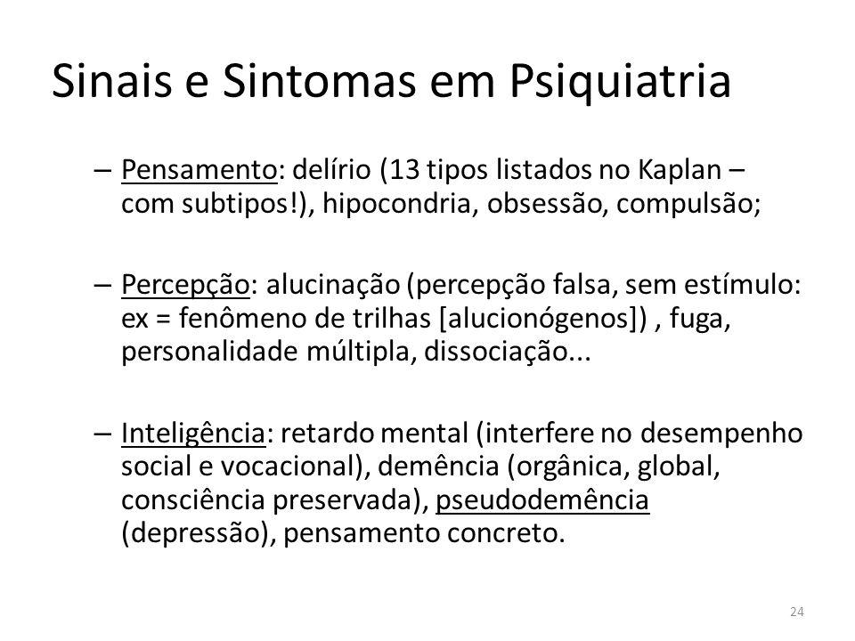 Sinais e Sintomas em Psiquiatria – Pensamento: delírio (13 tipos listados no Kaplan – com subtipos!), hipocondria, obsessão, compulsão; – Percepção: a