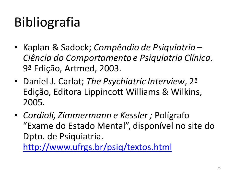Bibliografia Kaplan & Sadock; Compêndio de Psiquiatria – Ciência do Comportamento e Psiquiatria Clínica. 9ª Edição, Artmed, 2003. Daniel J. Carlat; Th