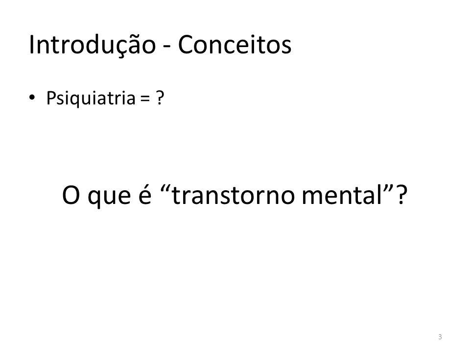 Introdução - Conceitos Psiquiatria = ? O que é transtorno mental? 3