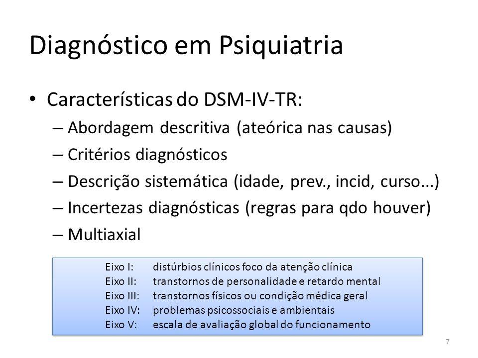 Diagnóstico em Psiquiatria Características do DSM-IV-TR: – Abordagem descritiva (ateórica nas causas) – Critérios diagnósticos – Descrição sistemática