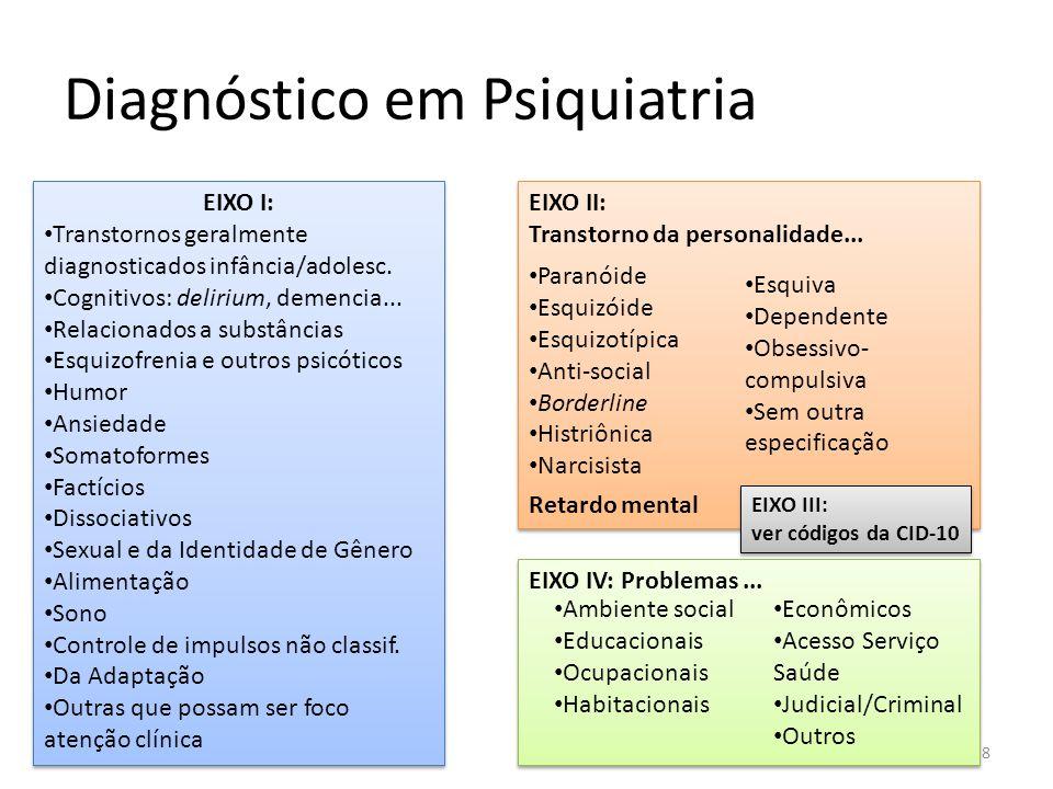 Diagnóstico em Psiquiatria 8 EIXO I: Transtornos geralmente diagnosticados infância/adolesc. Cognitivos: delirium, demencia... Relacionados a substânc