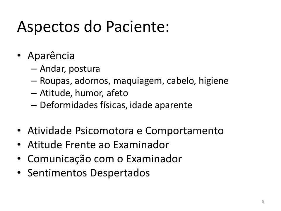 Aspectos do Paciente: Aparência – Andar, postura – Roupas, adornos, maquiagem, cabelo, higiene – Atitude, humor, afeto – Deformidades físicas, idade a