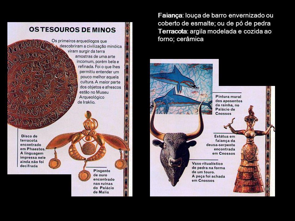 Faiança: louça de barro envernizado ou coberto de esmalte; ou de pó de pedra Terracota: argila modelada e cozida ao forno; cerâmica