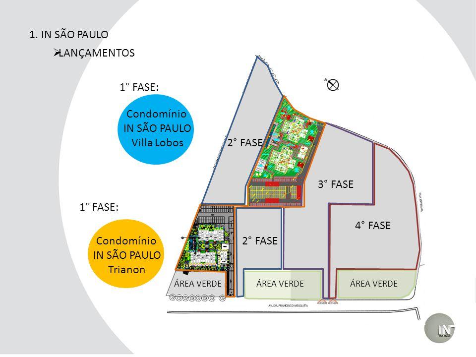 1. IN SÃO PAULO LANÇAMENTOS 2° FASE 3° FASE 4° FASE ÁREA VERDE 1° FASE: 3° FASE 2° FASE Condomínio IN SÃO PAULO Villa Lobos Condomínio IN SÃO PAULO Tr