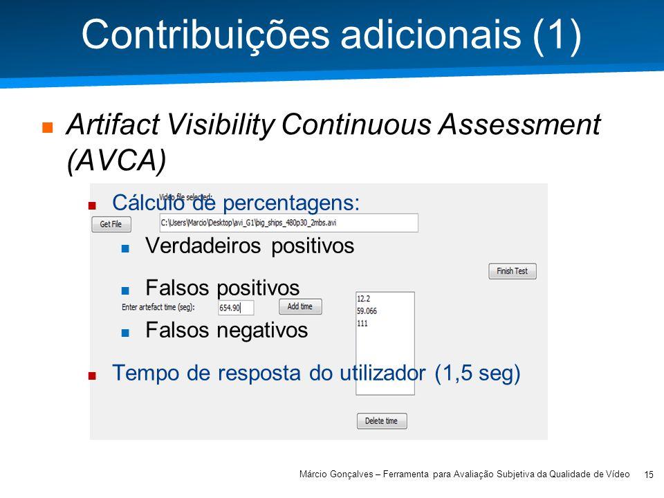 Academia ISCTE – Arquitectura de Computadores Contribuições adicionais (1) Artifact Visibility Continuous Assessment (AVCA) 15 Márcio Gonçalves – Ferr