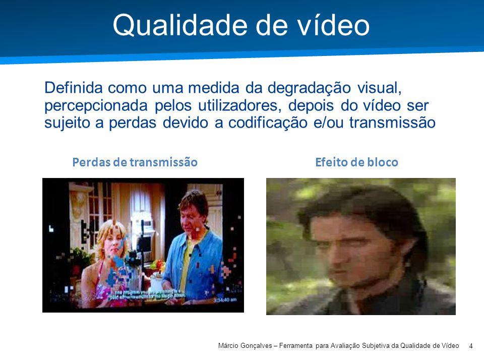 Academia ISCTE – Arquitectura de Computadores Qualidade de vídeo 4 Márcio Gonçalves – Ferramenta para Avaliação Subjetiva da Qualidade de Vídeo Defini