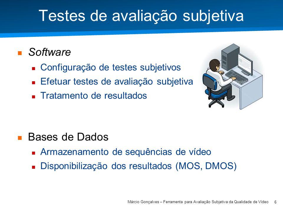 Academia ISCTE – Arquitectura de Computadores Testes de avaliação subjetiva Software Configuração de testes subjetivos Efetuar testes de avaliação sub