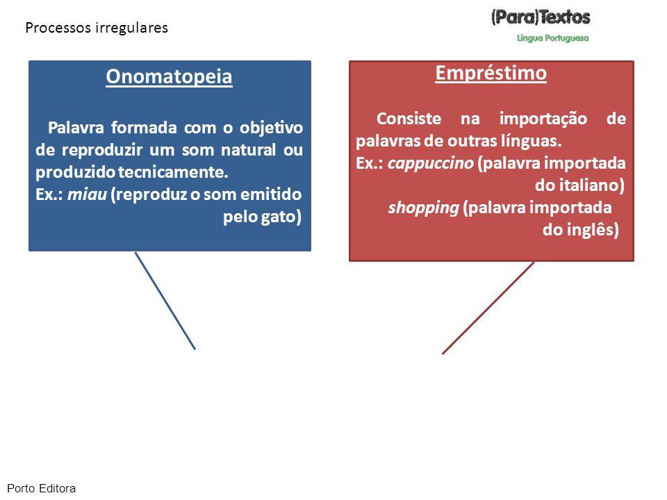 Processos irregulares Onomatopeia Palavra formada com o objetivo de reproduzir um som natural ou produzido tecnicamente. Ex.: miau (reproduz o som emi