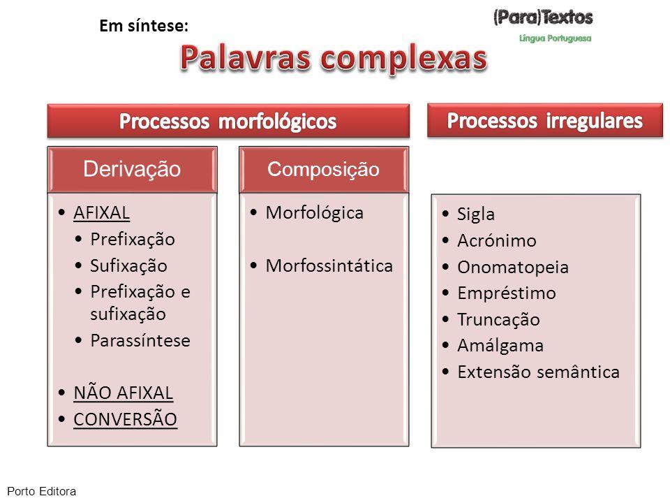 Derivação AFIXAL Prefixação Sufixação Prefixação e sufixação Parassíntese NÃO AFIXAL CONVERSÃO Composição Morfológica Morfossintática Sigla Acrónimo O