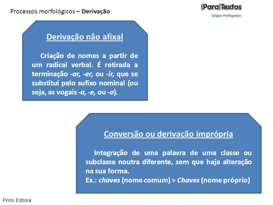 Processos morfológicos – Derivação Conversão ou derivação imprópria Integração de uma palavra de uma classe ou subclasse noutra diferente, sem que haj