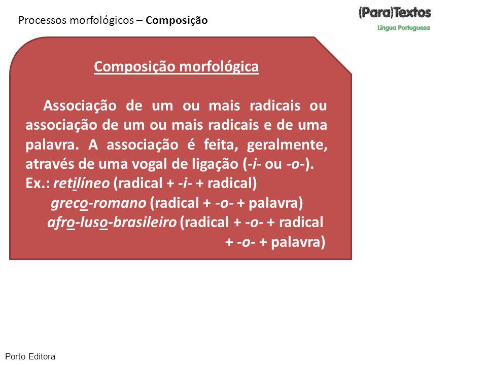 Porto Editora Processos morfológicos – Composição Composição morfológica Associação de um ou mais radicais ou associação de um ou mais radicais e de u