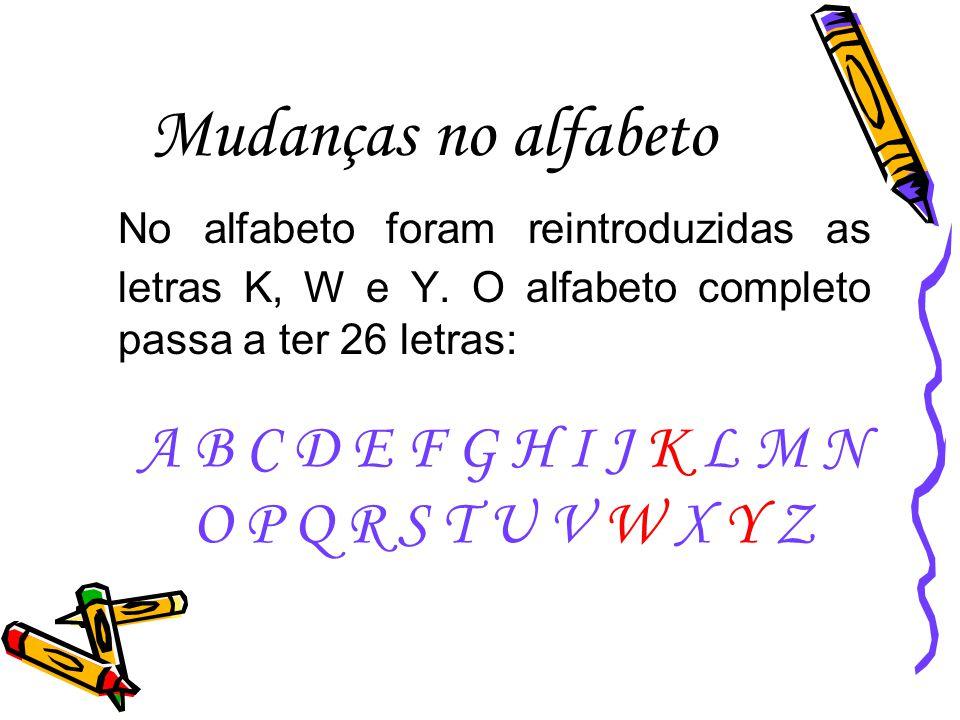 As letras K, W e Y, que na verdade não tinham desaparecido da maioria dos dicionários da nossa língua, são usadas em várias situações.