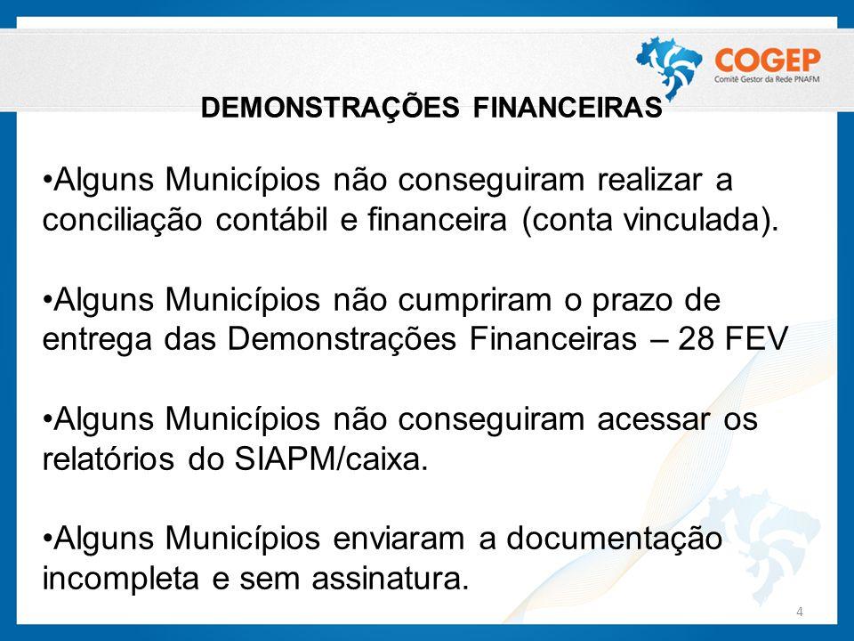 DEMONSTRAÇÕES FINANCEIRAS Alguns Municípios não conseguiram realizar a conciliação contábil e financeira (conta vinculada). Alguns Municípios não cump